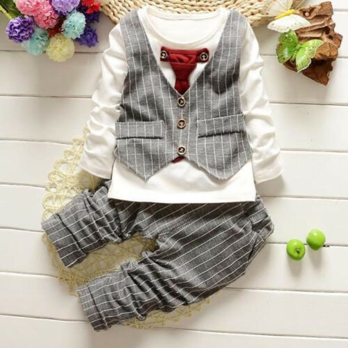 2pcs Toddler Newborn Kids Baby Boys T-shirt Tops+Pants Outfits Clothes Suit Set