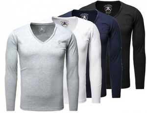 Akito-Tanaka-Herren-Longsleeve-Basic-langarm-T-Shirt-tiefer-V-Ausschnitt-slimfit
