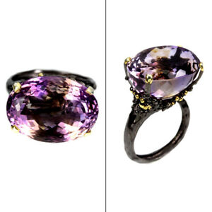 Handmade-Oval-Ametrine-Bi-Colors-27x23mm-925-Sterling-Silver-Ring-Size-9-5
