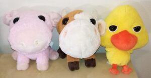 3 Amici Della Fattoria Peluche Pupazzi Coop Maiale Mucca Pulcino Plush Soft Toys Belle En Couleur