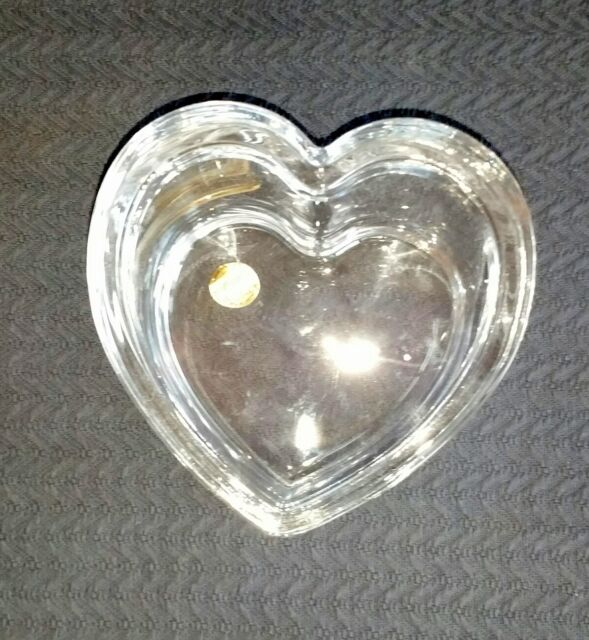 Cristal d'Arques Heart Shaped Covered Dish w Lid Lead Crystal made in France  #B