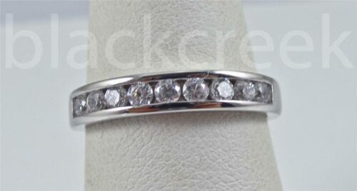 White C.Z Ring ~ Size 3 to 12 Channel Set ~ 925 Sterling Silver ~ Band
