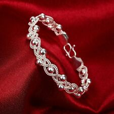 New Girls Ladies Braided Bead Bracelet Hand Chain 925 Sterling Silver Plated Hot