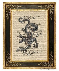 chinese dragon art print on antique book page vintage illustration