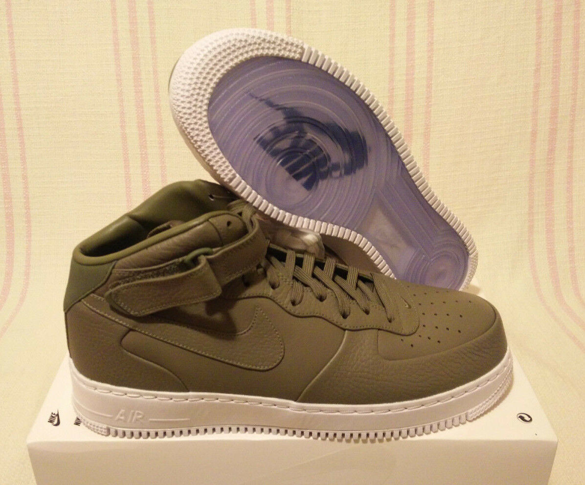 Size 14 Nike NikeLab Air Force 1 Mid Urban Haze Green shoes Strap 819677 300
