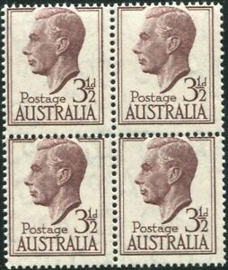Australia-1951-SG247-3-d-brown-purple-KGVI-block-MNH