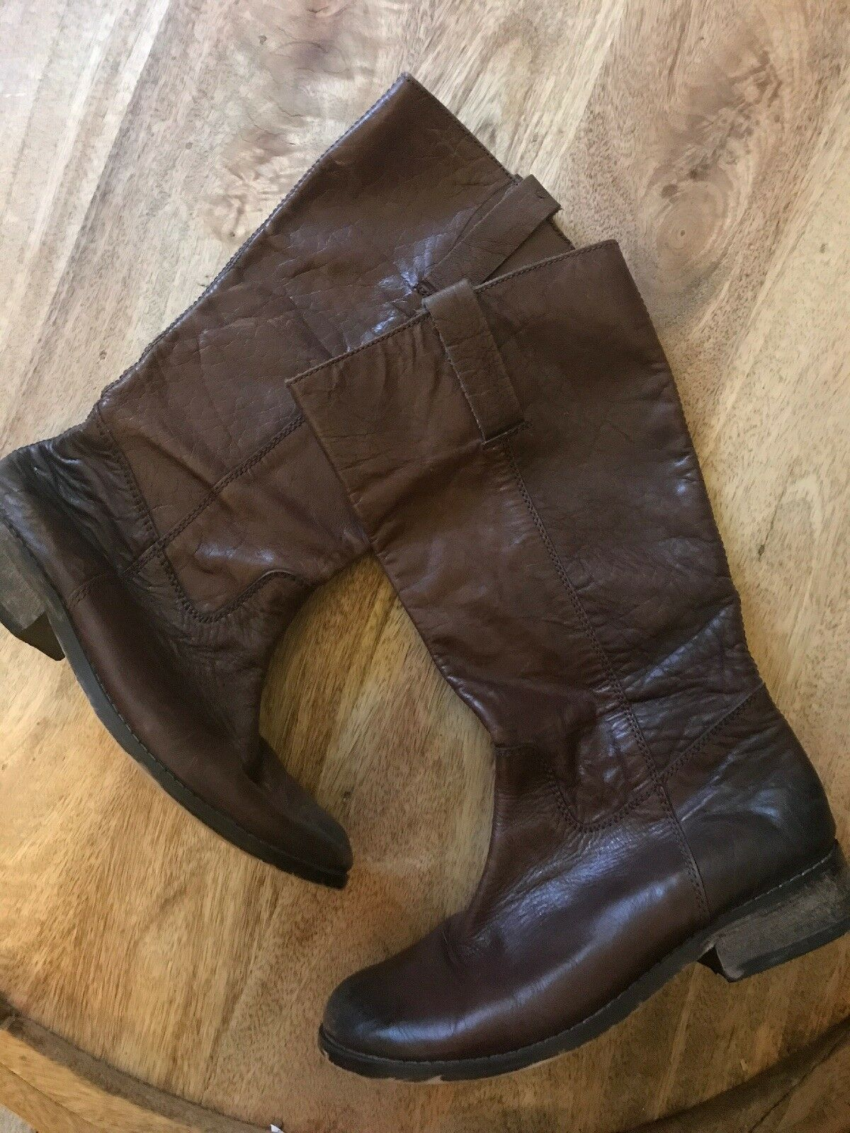MIA tall Distressed Brown Leather Boots--7.5