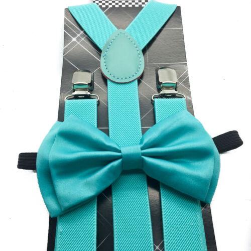 Mint Blue Wedding Bow Tie /& Suspender Set for men teenager teen