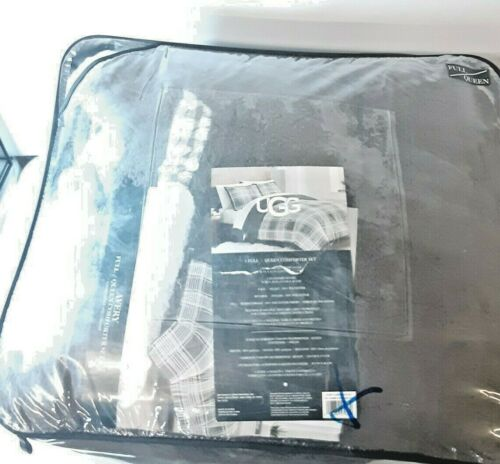 UGG Avery comforter set, PRE OWNED, Plush 3 piece set, Plaid Charcoal