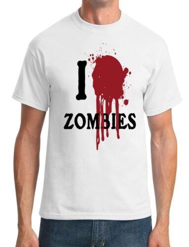 I Love Mens T-Shirt Heart Zombies Funny