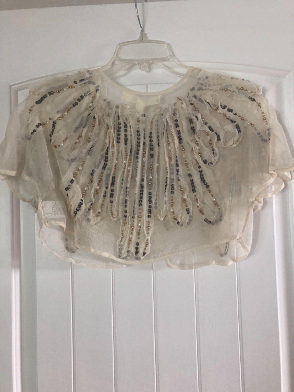 Anthropologie  Feather Bone small beaded wedding topper shrug bolero NWT