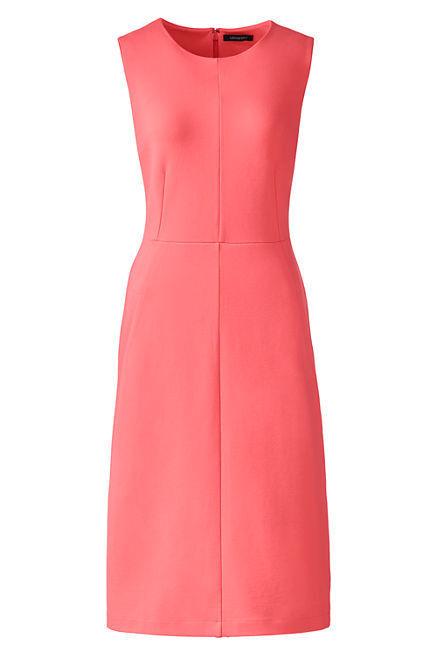 Lands End Women's Sleeveless Ponte Sheath Dress Fresh Melon New