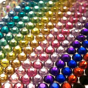 1000-Crystal-Silver-Flat-Back-Acrylic-Rhinestones-Gems-Diamante-3-4mm-for-Craft