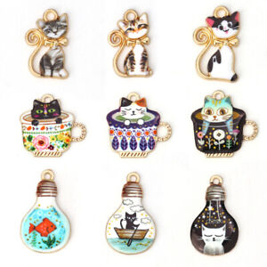 10Pcs-Cartoon-Animale-Gatto-Smalto-Metallo-Charms-Ciondoli-Collana-gioielli-fai-da-te-regalo