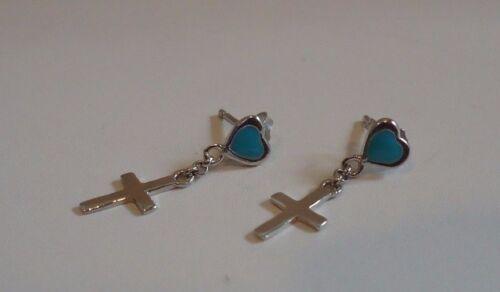 Argent Sterling 925 Coeur /& Croix Pendantes Boucles d/'oreilles avec turquoise//22 mm par 6 mm