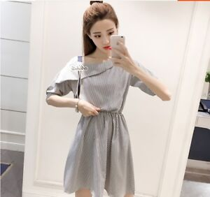 Elegant Off Shoulder Korean Style A Line Slim Casual
