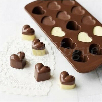Silicone 15 Heart Cake Chocolate Cookies Baking Mould Ice Cube Soap Mold 0023