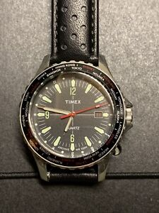 Timex Navi World Time 38mm Leather Strap Watch 100m Water Resist Tumbled Case