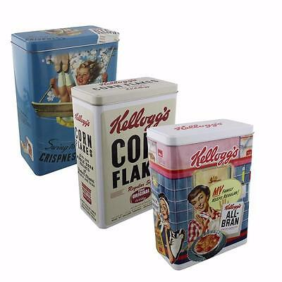 Set of 3 Vintage Kelloggs Cereal Tin Corn Flakes Designs