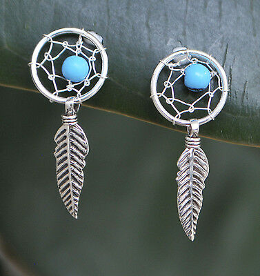 Sterling Silver Turquoise Stone Dreamcatcher Feather Earrings Post and Butterfly