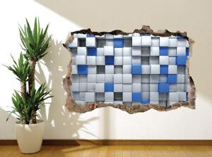 3d Blue and white blocks wall sticker wall mural 3d design bedroom art 10279074