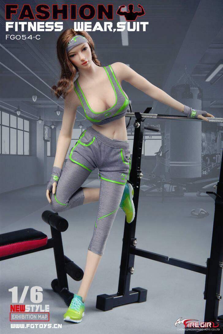 1/6 scale Girl Female Fitness Wear for Suit Grau Sport Clothes Set for Wear 12'' PHICEN 974b59