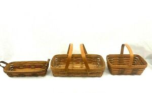 Lot of 3 Vintage LONGABERGER Baskets 1991&1993, Handwoven,Made in U.SA,stamped