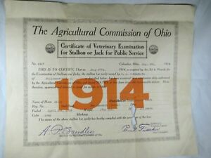1914-CERTIFICATE-VETERINARY-EXAMINATION-FOR-STALLION-OR-JACK-FOR-PUBLIC-SERVICE