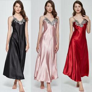 Women  Sleepwear Lingerie Silk Lace Robe Dress Babydoll Nightdress Nightgown