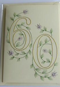 Image Is Loading HANDMADE STITCHED 60TH BIRTHDAY CARD NUMBER 60 WITH