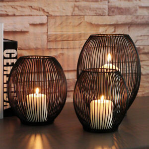 2x-Black-Metal-Iron-Candle-Holder-Cage-Lantern-3-Size-Modern-Home-Decoration-Wed
