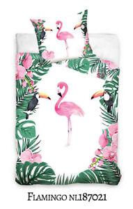 Kinder Bettwäsche Mädchen Bettwäsche Flamingo 2 Tlg 135x200 Cm