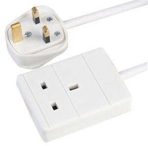 1-Way-Gang-monosocket-Puissance-Secteur-Extension-Lead-1-m-metres-Cable-13-A-blanc