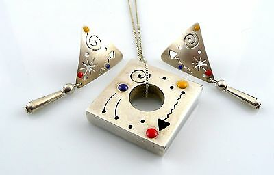 Vintage 1980s Handmade MEMPHIS MODERN Sterling & Enamel NECKLACE & EARRINGS Set