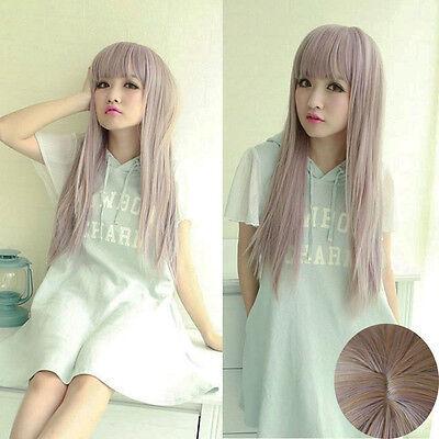 Fashion Long Fluffy Straight Wig Women Harajuku Anime Style Cosplay Full Wig