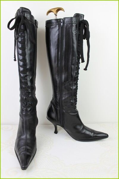 Boots Lace KALLISTE All Leather Black T 36 VERY GOOD CONDITION