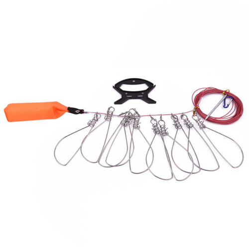 Stainless Steel Fishing Stringer Live Fish Lock Clip Buckle Rope Float Parts MP