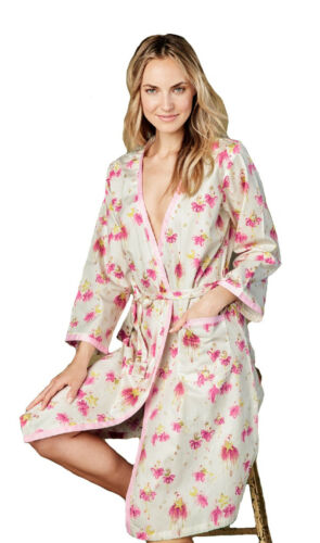 BedHead Pajamas Pink Star Catchers Sateen Ribbon Trim Robe 1035-CI7-6168