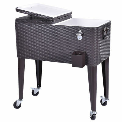 Portable Outdoor Rattan Rolling Party Cooler Drink Cart Ice Chest Patio Pool BBQ