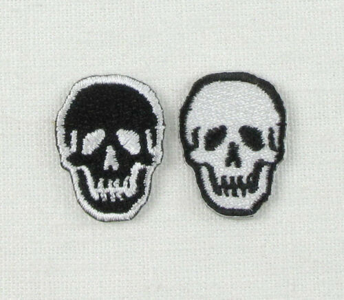 BLACK  WHITE SKULLS SMALL PAIRS SINGLE Iron On Sew On Embroidered Patch