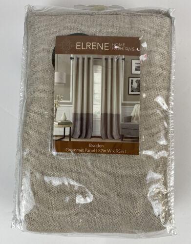 Elrene Braiden 95 In Grommet Color Block Darkening Window Curtain Panel in Linen