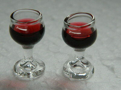 (kp3.3)1/12th Scale Dolls House Food : 2 X Glasses Of Red Wine