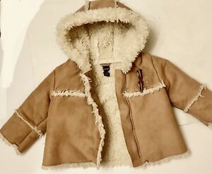 c0e1dd0c5878 BABY GAP TODDLER TAN SUEDE FUR LINED WINTER COAT SZ 12-18 MO. NEW ...