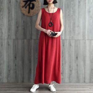 Women-Cotton-Linen-Full-Slips-Sleeveless-Dress-Summer-Loose-Baggy-Long-Gown