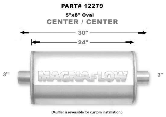 "Magnaflow 5x8 24/"" Oval Straight Through Muffler 3/"" In//Out Center//Center 12279"
