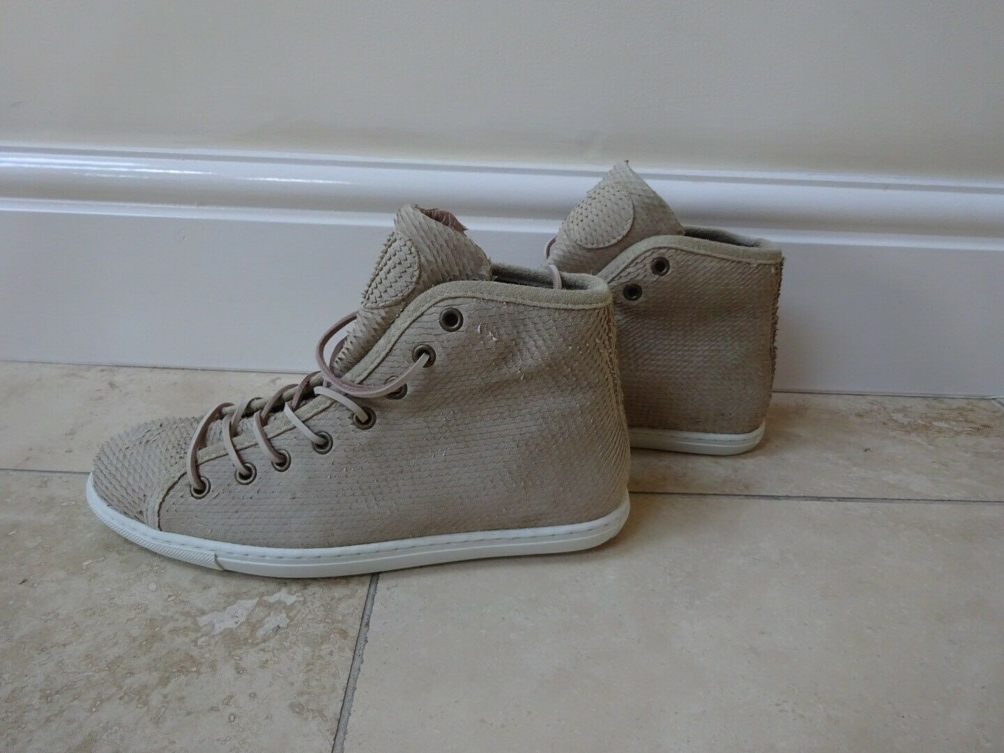 Designer PRIVATE  High Beige 100% Real Leder High  Top Trainers  Turnschuhe UK6/39 NEW c5c80a