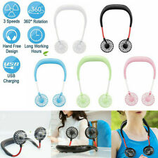 2019 Portable USB Rechargeable Neckband Lazy Neck Hanging Dual Cooling Mini Fan