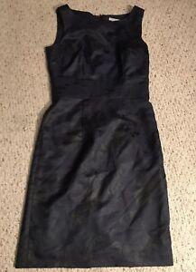 H-amp-M-Womens-Black-Blue-Floral-Print-Sheath-Sleeveless-Dress-Sz-6
