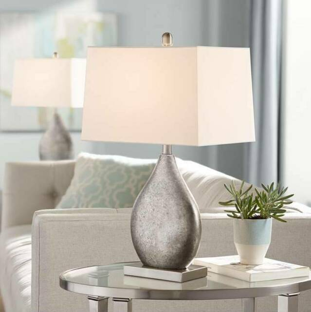 Modern Table Lamps Set of 2 Silver Metal Teardrop for Living Room Bedroom  Office