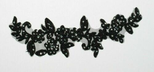 1 X Floral lace Applique Stitch On Bridal Motif Trim Rhinestone Crystal 6 Col #1